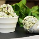 Mint ice cream with choc chips.