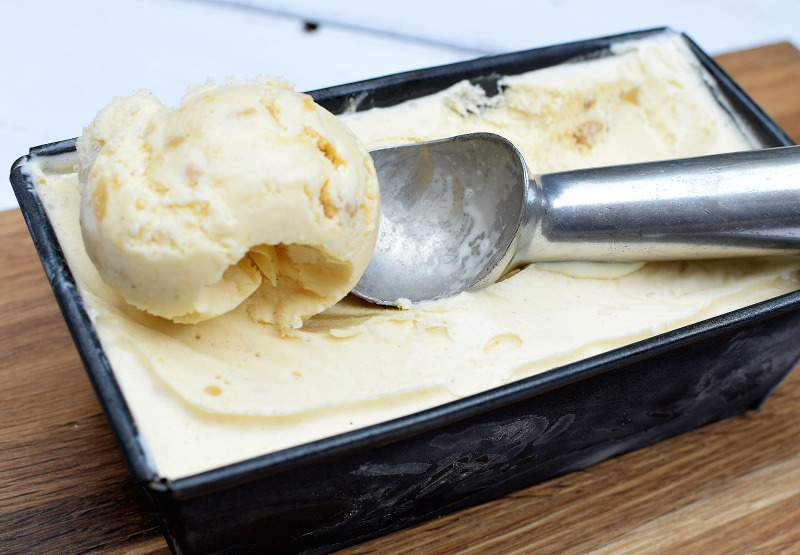 Scoop of apple crumble ice cream