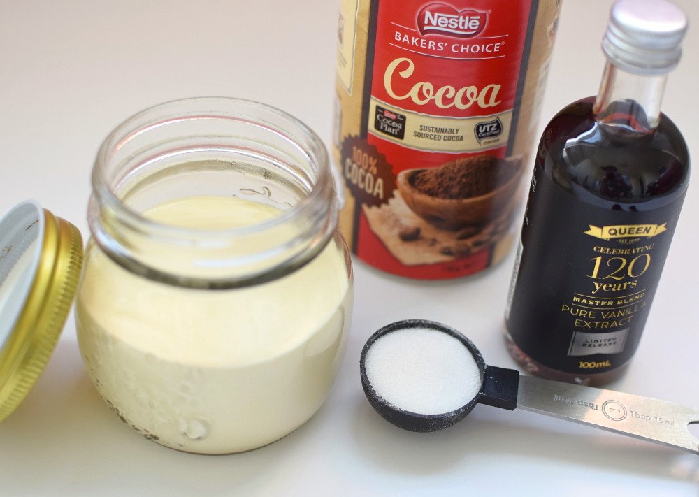 Ingredients to make chocolate ice cream in a jar.