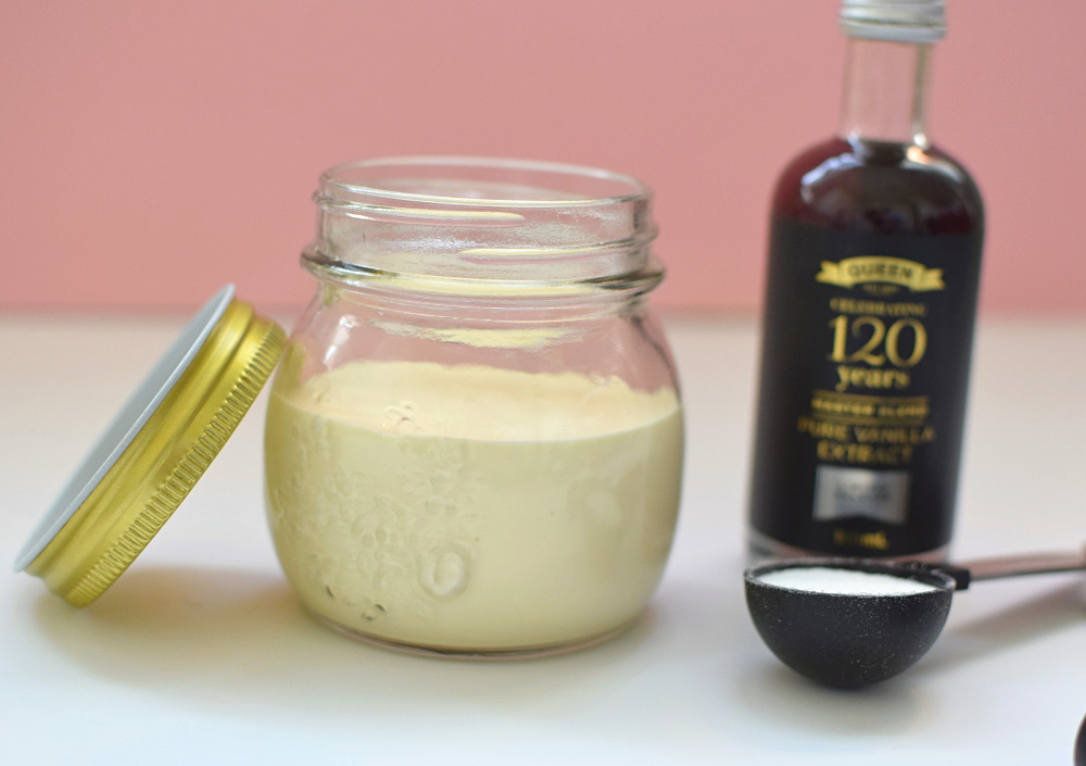 Ingredients to make vanilla ice cream in a jar.