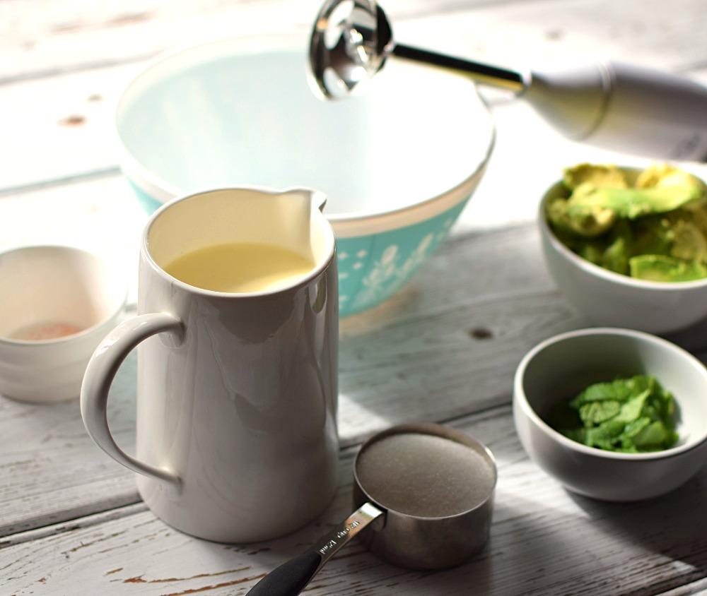 Ingredients for avocado ice cream recipe