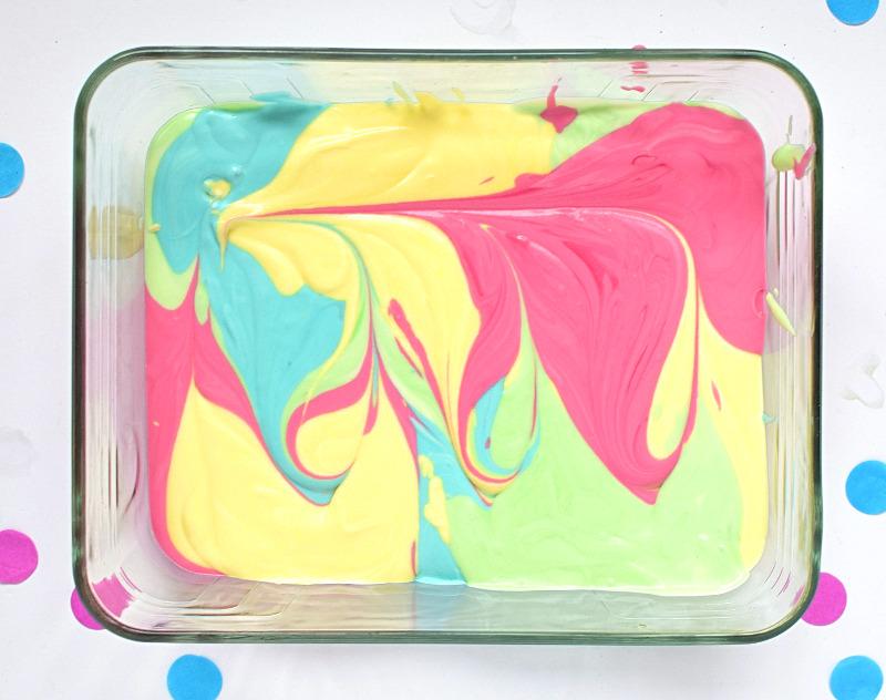 Ice cream with a colourful design