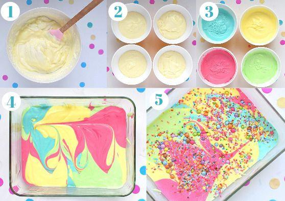 Steps to make rainbow ice cream
