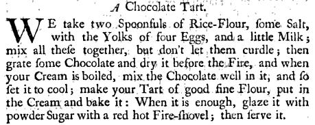 18th century chocolate tart recipe