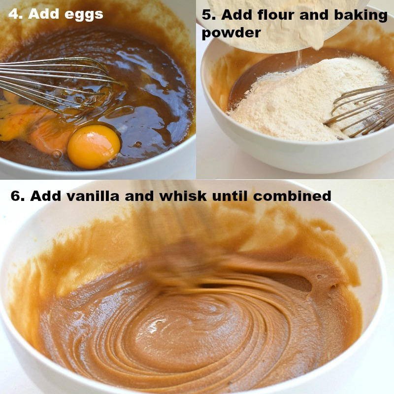 Add eggs, flour and baking powder