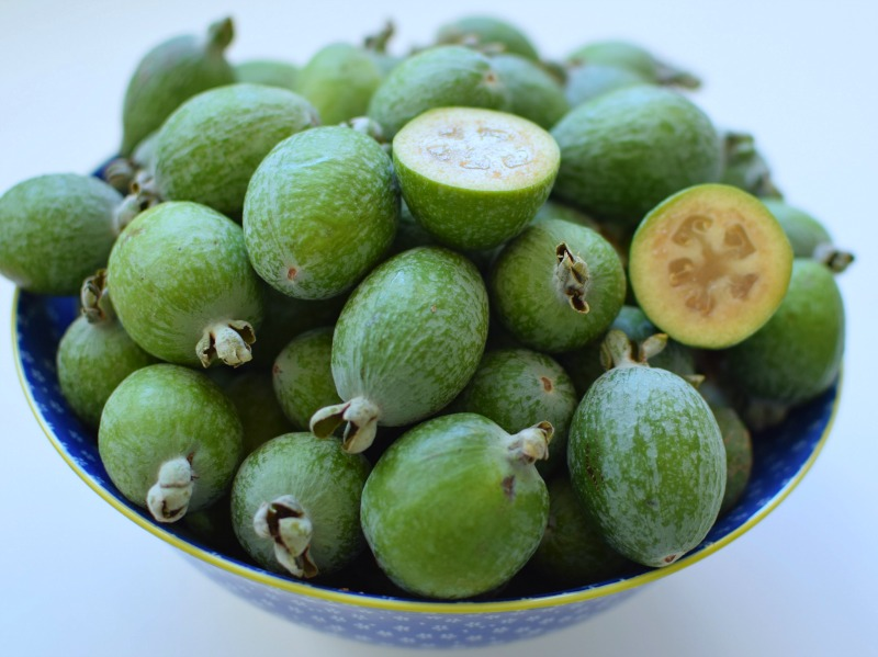 Fresh feijoas in a bowl