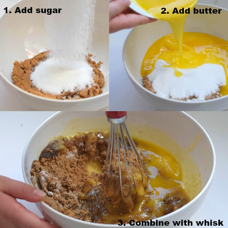 Whisk butter with sugars