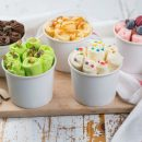 various flavours of rolled ice cream