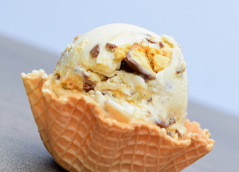 A waffle filled with crunchie ice cream